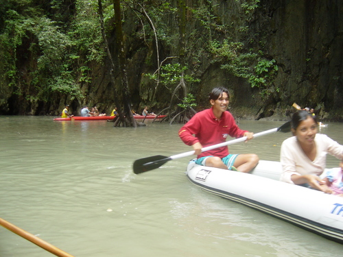 Canoes inside the hollow island